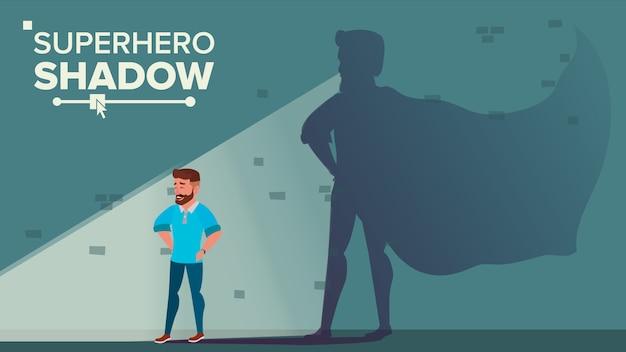 ビジネスマンのスーパーヒーローの影