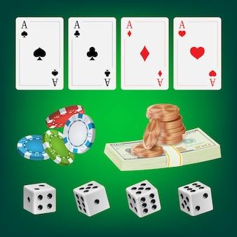ポーカーデザインのカードと要素
