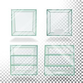 Пустой прозрачный стеклянный ящик куб