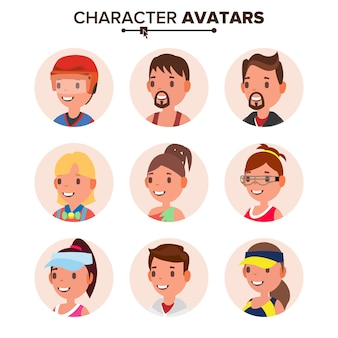 キャラクター人アバターセット。