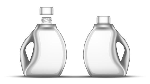 キャップ付き空白の白い漂白剤のプラスチックボトル