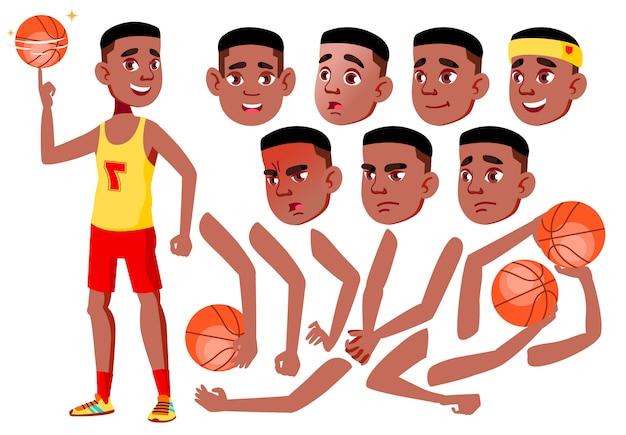 十代の少年キャラクター。アフリカ人。アニメーションの作成コンストラクター。顔の感情、手。