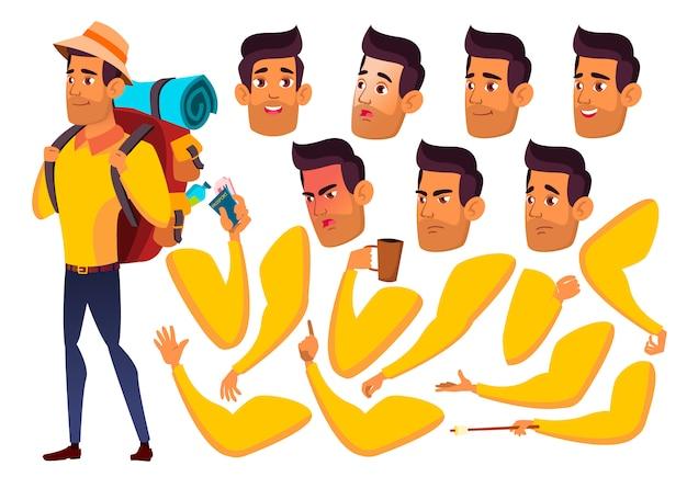 十代の少年キャラクター。アラブ。アニメーションの作成コンストラクター。顔の感情、手。