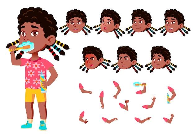 子供の女の子のキャラクター。アフリカ人。アニメーションの作成コンストラクター。顔の感情、手。