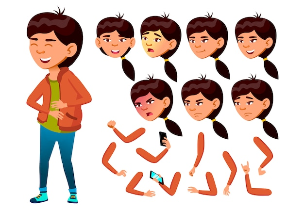 子供の女の子のキャラクター。アジア人。アニメーションの作成コンストラクター。顔の感情、手。
