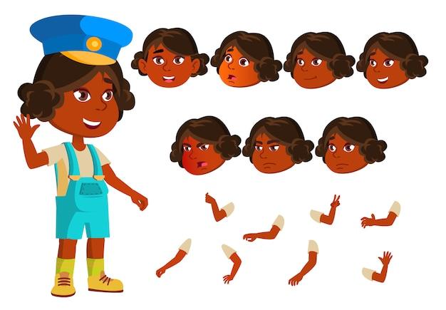 子供の女の子のキャラクター。インド人。アニメーションの作成コンストラクター。顔の感情、手。