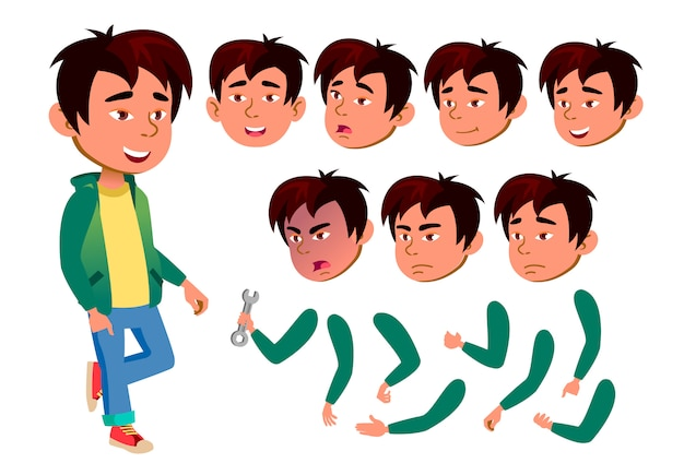 Ребенок мальчик персонаж. азии. создание конструктора для анимации. лицо, эмоции, руки.