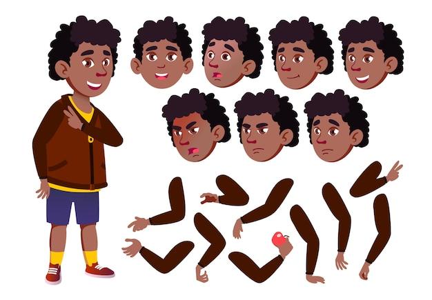 子供の少年キャラクター。アフリカ人。アニメーションの作成コンストラクター。顔の感情、手。