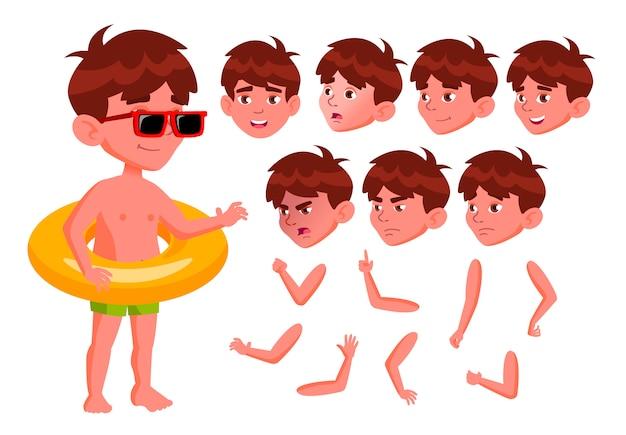 Ребенок мальчик персонаж. европейский. создание конструктора для анимации. лицо, эмоции, руки.