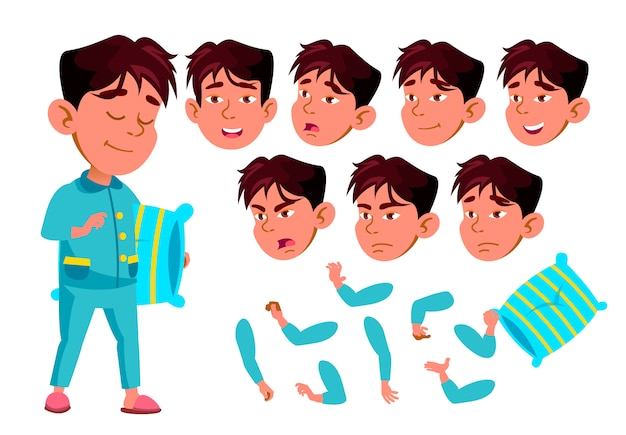 子供の少年キャラクター。アジア人。アニメーションの作成コンストラクター。顔の感情、手。