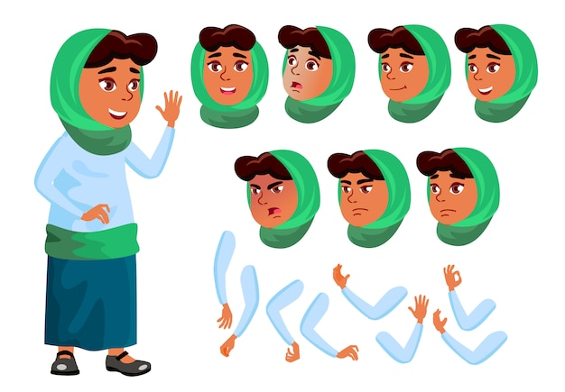 子供の女の子のキャラクター。アラブ。アニメーションの作成コンストラクター。顔の感情、手。