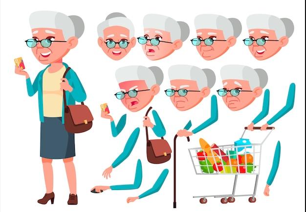 Старая женщина персонаж. европейский. создание конструктора для анимации. лицо, эмоции, руки.