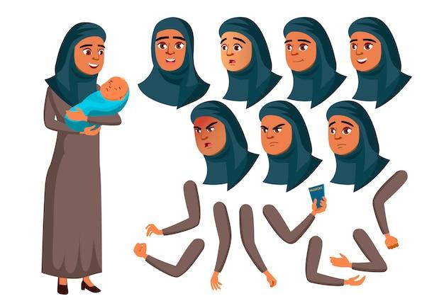 十代の少女のキャラクター。アラブ。アニメーションの作成コンストラクター。顔の感情、手。