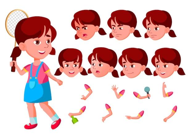 子供の女の子のキャラクター。ヨーロッパ人。アニメーションの作成コンストラクター。顔の感情、手。