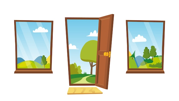 開いたドアと窓