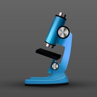 Реалистичный синий био лабораторный микроскоп