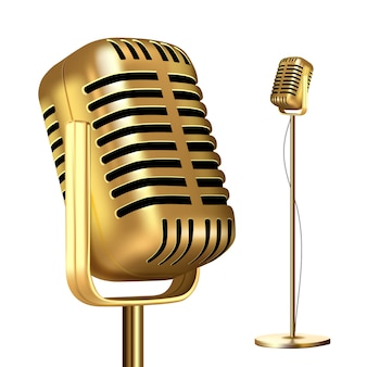 Ретро золотой микрофон с подставкой