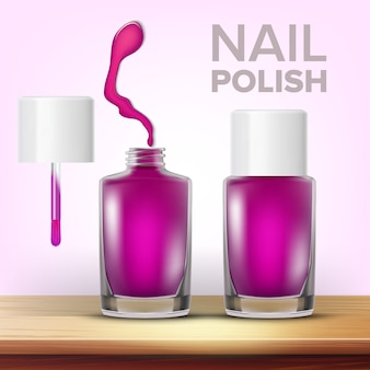 紫色のマニキュアの女性の化粧品のバイアル