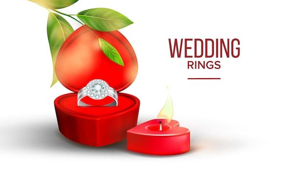 ハートボックスの形のダイヤモンドの結婚指輪