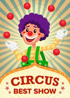 Цирк клоун шоу плакат шаблон.