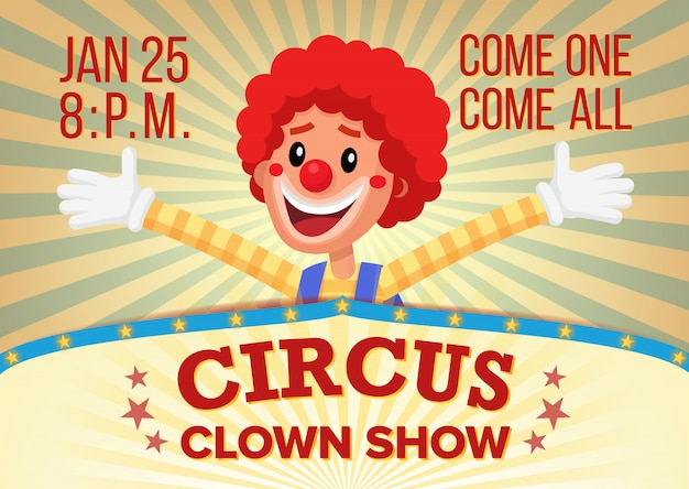 Цирковой клоун плакат пригласить шаблон.