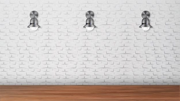 白いレンガの壁に黒の燭台をデザイン