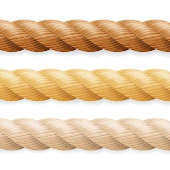 異なる厚さのロープセット