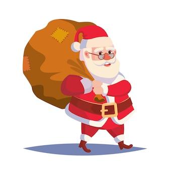 サンタクロースの贈り物で大きな袋を運ぶ