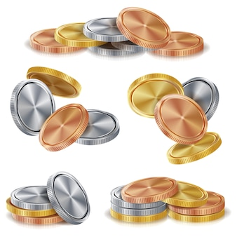 金、銀、青銅、銅のコインスタック。