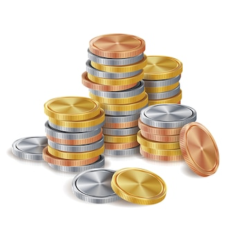 Стеки золотых, серебряных, бронзовых, медных монет.