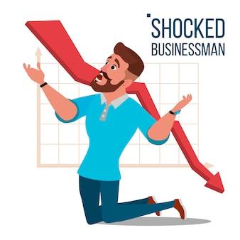 悲しいショックを受けたビジネスマンの図