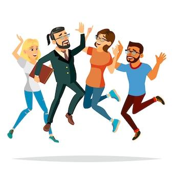 Иллюстрация людей дела скача
