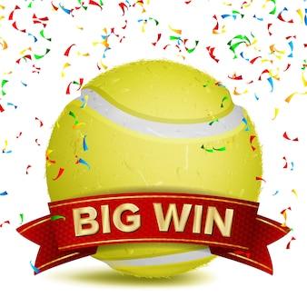 Теннисная награда с красной лентой и конфетти