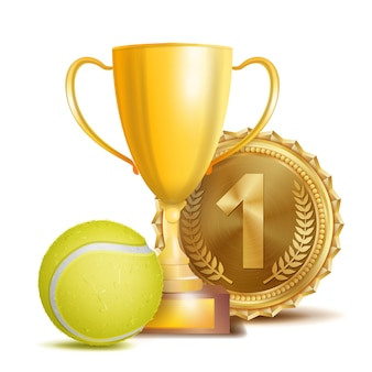 金メダルとトロフィーを備えたテニス賞