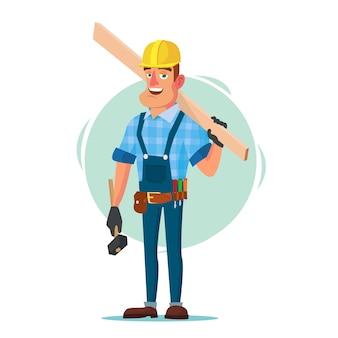 Строитель с инструментами