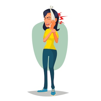 歯痛の図を持つ女性