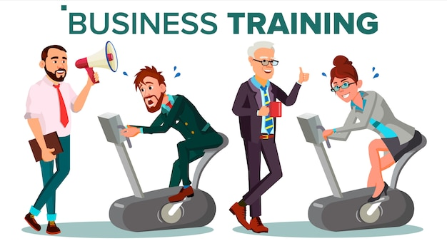 ビジネス人々トレーニングイラスト