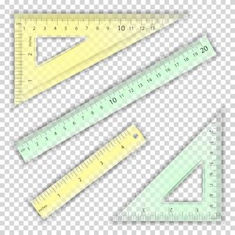 透明な定規と三角形
