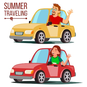 車のイラストで夏の旅行