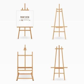 Краска стол вектор. деревянный мольберт шаблон с белой бумагой. изолированные на белом фоне. реалистичный набор стол художника. пустое пространство для дизайна.