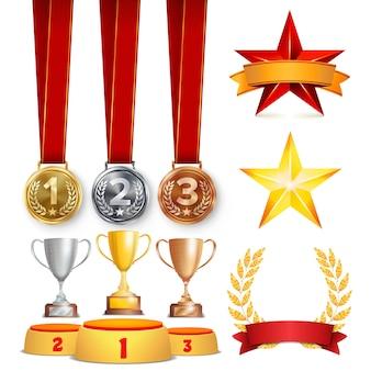 Трофей награды установить иллюстрации