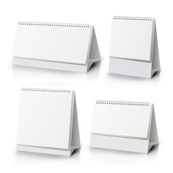 スパイラルカレンダー。白い空白の紙デスクスパイラルカレンダー。