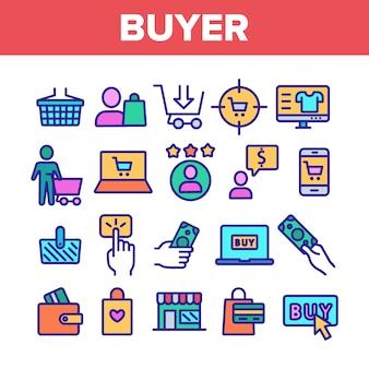 Покупатель элементы знаки набор иконок