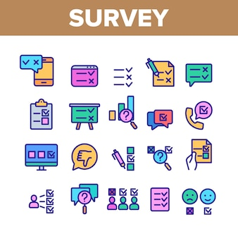 Набор иконок элементов опроса рейтинга