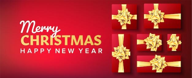 クリスマスバナー。ゴールドリボン付きギフトボックス。赤の背景