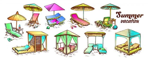 Набор мебели для пляжа летних каникул