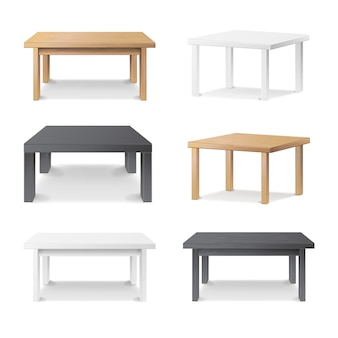 木製の空のスクエアテーブル