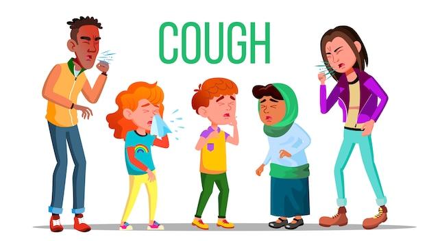 Кашель люди. концепция кашля. больной ребенок, подросток. чихать человек. вирус, болезнь