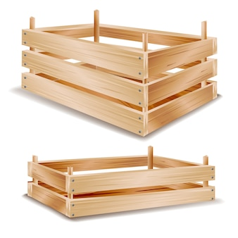 Реалистичная деревянная коробка