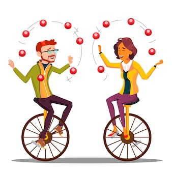 ジャグリングピープル。ビジネスの男性、一輪車でジャグリングの女性。